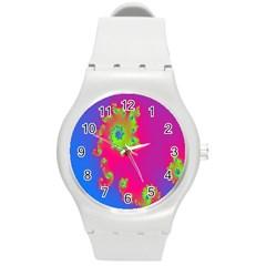 Digital Fractal Spiral Round Plastic Sport Watch (M)
