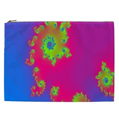 Digital Fractal Spiral Cosmetic Bag (xxl)
