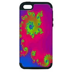 Digital Fractal Spiral Apple iPhone 5 Hardshell Case (PC+Silicone)