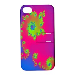 Digital Fractal Spiral Apple Iphone 4/4s Hardshell Case With Stand
