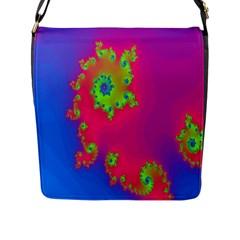 Digital Fractal Spiral Flap Messenger Bag (L)
