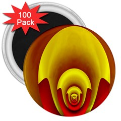 Red Gold Fractal Hypocycloid 3  Magnets (100 Pack)