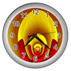 Red Gold Fractal Hypocycloid Wall Clocks (silver)
