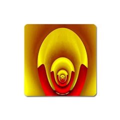 Red Gold Fractal Hypocycloid Square Magnet