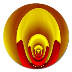 Red Gold Fractal Hypocycloid Magnet 5  (Round)