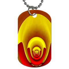Red Gold Fractal Hypocycloid Dog Tag (Two Sides)
