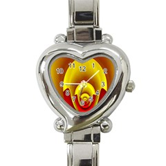 Red Gold Fractal Hypocycloid Heart Italian Charm Watch