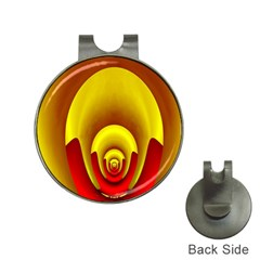 Red Gold Fractal Hypocycloid Hat Clips with Golf Markers