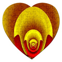 Red Gold Fractal Hypocycloid Jigsaw Puzzle (Heart)