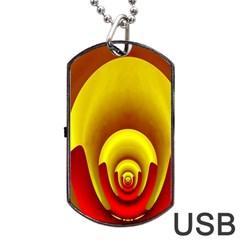 Red Gold Fractal Hypocycloid Dog Tag USB Flash (Two Sides)