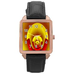 Red Gold Fractal Hypocycloid Rose Gold Leather Watch