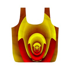 Red Gold Fractal Hypocycloid Full Print Recycle Bags (M)