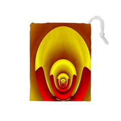 Red Gold Fractal Hypocycloid Drawstring Pouches (Medium)