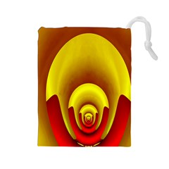 Red Gold Fractal Hypocycloid Drawstring Pouches (Large)