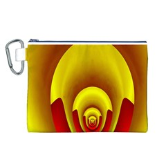 Red Gold Fractal Hypocycloid Canvas Cosmetic Bag (l)