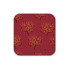 Beautiful Tree Background Pattern Rubber Square Coaster (4 Pack)