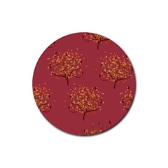 Beautiful Tree Background Pattern Rubber Round Coaster (4 Pack)
