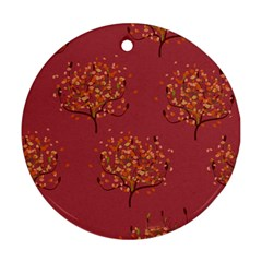 Beautiful Tree Background Pattern Round Ornament (Two Sides)
