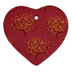 Beautiful Tree Background Pattern Heart Ornament (two Sides)
