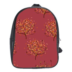 Beautiful Tree Background Pattern School Bags (XL)