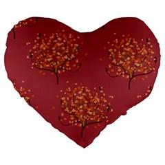 Beautiful Tree Background Pattern Large 19  Premium Heart Shape Cushions