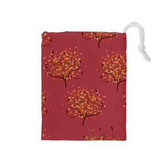 Beautiful Tree Background Pattern Drawstring Pouches (medium)