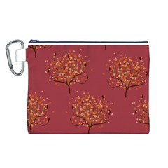 Beautiful Tree Background Pattern Canvas Cosmetic Bag (L)