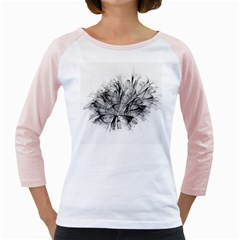 High Detailed Resembling A Flower Fractalblack Flower Girly Raglans