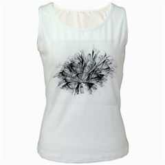 High Detailed Resembling A Flower Fractalblack Flower Women s White Tank Top