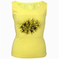 High Detailed Resembling A Flower Fractalblack Flower Women s Yellow Tank Top