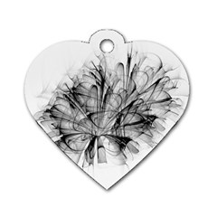 High Detailed Resembling A Flower Fractalblack Flower Dog Tag Heart (two Sides)