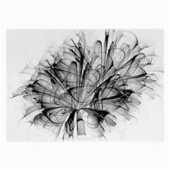 High Detailed Resembling A Flower Fractalblack Flower Large Glasses Cloth (2 Side)