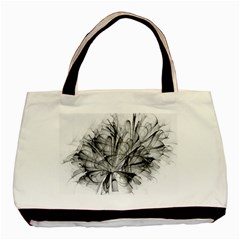 High Detailed Resembling A Flower Fractalblack Flower Basic Tote Bag (two Sides)