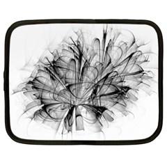High Detailed Resembling A Flower Fractalblack Flower Netbook Case (large)