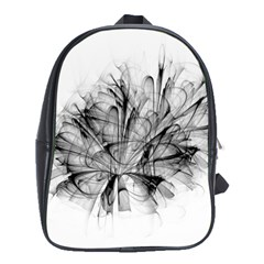 High Detailed Resembling A Flower Fractalblack Flower School Bags (XL)