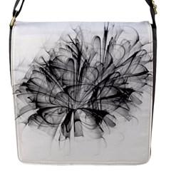 High Detailed Resembling A Flower Fractalblack Flower Flap Messenger Bag (S)