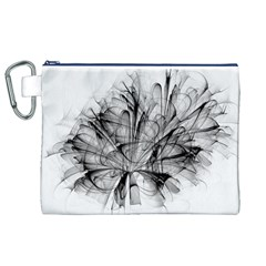 High Detailed Resembling A Flower Fractalblack Flower Canvas Cosmetic Bag (XL)