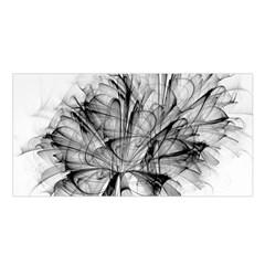 High Detailed Resembling A Flower Fractalblack Flower Satin Shawl