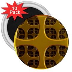Golden Fractal Window 3  Magnets (10 Pack)