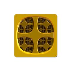 Golden Fractal Window Square Magnet