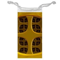 Golden Fractal Window Jewelry Bag