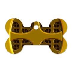 Golden Fractal Window Dog Tag Bone (two Sides)