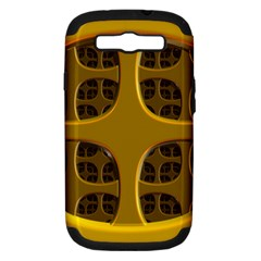Golden Fractal Window Samsung Galaxy S III Hardshell Case (PC+Silicone)