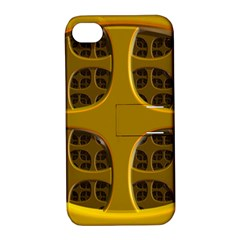 Golden Fractal Window Apple iPhone 4/4S Hardshell Case with Stand