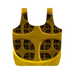 Golden Fractal Window Full Print Recycle Bags (M)