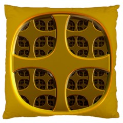 Golden Fractal Window Large Flano Cushion Case (One Side)
