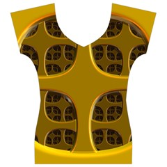 Golden Fractal Window Women s V-Neck Cap Sleeve Top