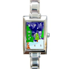 Christmas Trees And Snowy Landscape Rectangle Italian Charm Watch