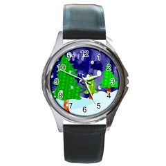 Christmas Trees And Snowy Landscape Round Metal Watch