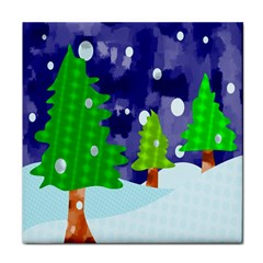 Christmas Trees And Snowy Landscape Tile Coasters